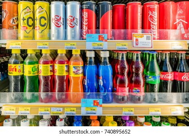 PATTAYA, THAILAND - AUGUST 05: This is a soft drink section in a 7-11 convenience store which are very common in across Thailand on August, 05 in Pattaya