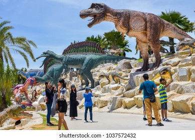 PATTAYA - THAILAND, AUGUST 12, 2017 : Nong nooch Pattaya garden opened to the public on 1980 and Dinosaur valley opened on 2017. Pattaya, Thailand.