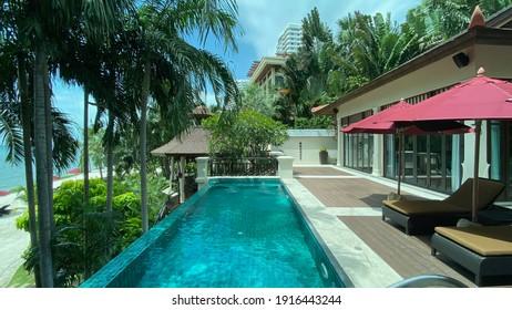 Pattaya, Thailand - August 17 2020: Exterior of Private Pool Villa at Intercontinental Resort Pattaya