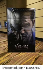 Pattaya, Thailand - August 19, 2018: Standee of Movie VENOM (Black Danger Enemy Creature from Spiderman Movie) display at the theater