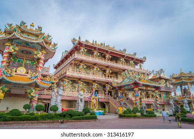 Pattaya, Thailand - August 30, 2015: Pattaya on August 30, 2015. Thai and Chinese are gathering at the Chinese Temple of Pattaya.