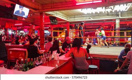 Pattaya, Thailand - circa July 2016 - unidentified boys shows Thai boxing on stage at pattaya walking street