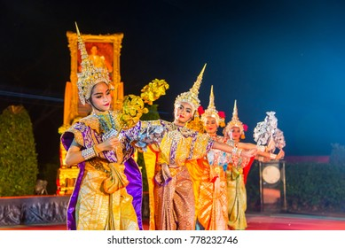 "Pattaya, Thailand - Dec 16, 2017 - ""Khon""  Thailand culture Dancing art in masked that high classical of dance in  Literature Ramayana"