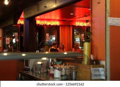 PATTAYA, THAILAND - DECEMBER 13: Nightlife in snackbar on walking street on December 13, 2013 in Pattaya.