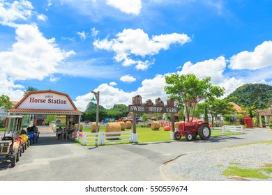 PATTAYA, THAILAND - DECEMBER 15, 2016 : The Swiss Sheep Farm Where is the biggest sheep farm and fun park style in Pattaya