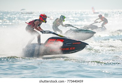 Pattaya, Thailand - December 9, 2017: Marten Manni from Estonia competing in the Pro Ski GP Class of the International Jet Ski World Cup at Jomtien Beach, Pattaya, Thailand.