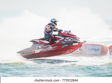 Pattaya, Thailand - December 9, 2017: Aero Sutan Aswar from Indonesia competing in the Pro-Am Runabout Stock Class of the International Jet Ski World Cup at Jomtien Beach, Pattaya, Thailand.