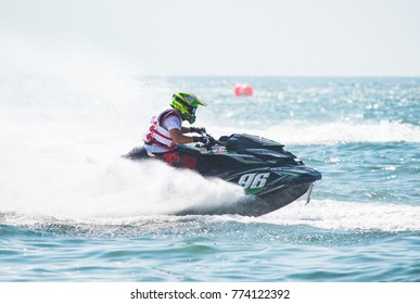 Pattaya, Thailand - December 9, 2017: Winner Masayuki Chigira from Japan, competing in the Pro-Am Runabaout Open Class of the International Jet Ski World Cup at Jomtien Beach, Pattaya, Thailand.
