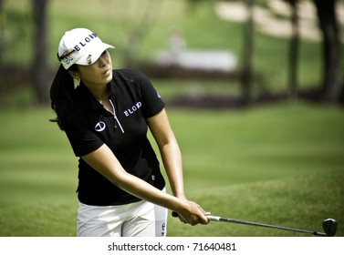 PATTAYA THAILAND - FEBRUARY 20: South Korean player M.J. Hur in action during the final round of Honda LPGA Thailand 2011on February 20 2011 at Siam Country Club Old Course in Pattaya, Thailand