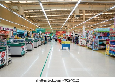 PATTAYA, THAILAND - FEBRUARY 22, 2016: inside of the Tesco Lotus hypermarket in Pattaya. Tesco Lotus is a hypermarket chain in Thailand operated by Ek-Chai Distribution System Co., Ltd.
