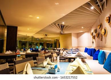PATTAYA, THAILAND - FEBRUARY 8, 2020 : Veranda Resort Pattaya restaurant, nice view at night, delicious food, designed beautiful, luxury and spectacular by Sofitel on Na Jomtien Beach.