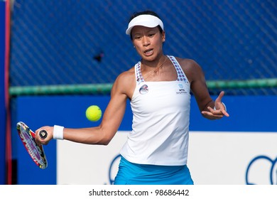 PATTAYA, THAILAND - FEBRUARY 9: Anne Keothavong of Great Britain returns a ball to her opponent during Round 2 of PTT Pattaya Open 2012 on February 9, 2012 at Dusit Thani Hotel in Pattaya, Thailand
