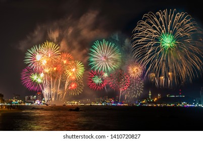 PATTAYA, THAILAND Fireworks Festival24 may 2019 Fireworks over the beach and sea surrounding with hotels,restaurant, and service boats and cruises for celebrating New Year special occasion on holiday