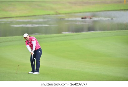PATTAYA, THAILAND: Inbee Park of South Korea plays a shot during day one of the Honda LPGA Thailand 2015 at Siam Country Club, Pattaya on Feb 26,2015 in Thailand.