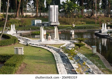 PATTAYA, THAILAND - JAN 04, 2014: - Democracy monument in Mini Siam Park. Mini Siam is a famous miniature park attraction. It had been constructed in 1986