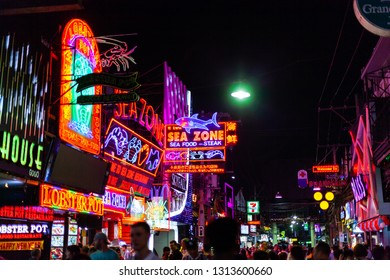 PATTAYA, THAILAND - January 19, 2019 : Colorful night light with music enterainment and drink bar in walking street Pattaya on January 19, 2019 Pattaya Thailand.