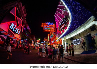 PATTAYA, THAILAND - January 19, 2019 : Colorful night light with music entertainment and drink bar in walking street Pattaya on January 19, 2019 Pattaya Thailand.