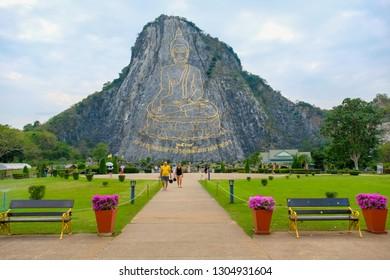 Pattaya, Thailand - January 2019 : Buddha Mountain (Khao Chee chan). Khao chee chan the largest buddha carved in the world, Pattaya, Thailand