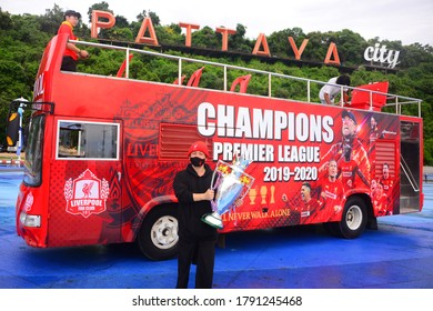 Pattaya, Thailand - Jul 24, 2020 - A parade of Thai people who supporting  Liverpool to celebrate the premier league championship 2020