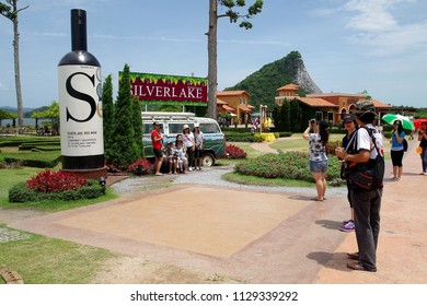 Pattaya Thailand , July 08 -2018 : People come to travel at the silver lake Pattaya Thailand in summer season very popular from the tourism.