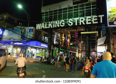 PATTAYA, THAILAND - JUNE 07 2018: Evening view of Walking street famous street in Pattaya