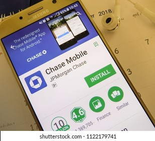 Pattaya, Thailand. June 27, 2018: chase mobile application on smartphone screen. chase mobile app is banking service app from JPMorgan Chase.