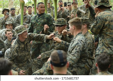 PATTAYA, THAILAND - MARCH 11, 2020: Royal Thai Marine Chief Petty Officer 1st Class Pairoj Prasansai, Recon Battalion, Marine Division demonstrates how to capture a cobra for U.S. Marines.