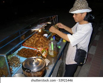 PATTAYA, THAILAND - MARCH 15: Thai man selling deep fried insects to Thai people on March 15, 2006 in Pattaya.