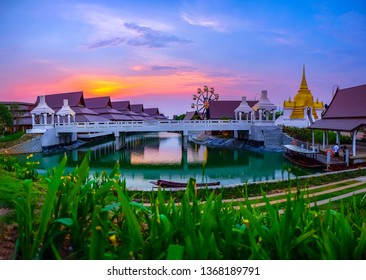 Pattaya, Thailand - March 2019 : View of Legend Siam located in Pattaya with twilight sky, Pattaya Thailand. Legend Siam is new landmrak of Pattaya