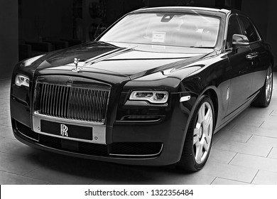 PATTAYA, THAILAND -MARCH 29.2018: Luxury car Rolls Royce Wraith in Paragon Mall. Rolls Royce is famous expensive luxury automobile brand car