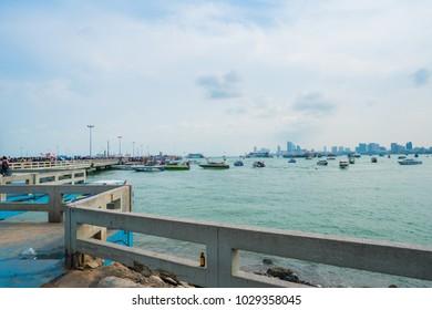 Pattaya, Thailand - May 19, 2017: Many tourist at Bali Hai Pier Pattaya.