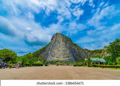 Pattaya, Thailand - May 2019 : Buddha Mountain Khao Chee chan. Khao chee chan the largest buddha carved in the world on sky background, Pattaya, Thailand