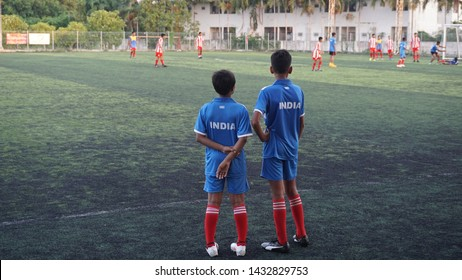 Pattaya, Thailand: May 30th, 2018. Kids are playing soccer is also known as football.