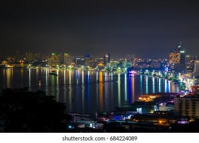 Pattaya, Thailand - Nov 29, 2014 - Firework show is an annual event of Pattaya International firework at Pattaya beach
