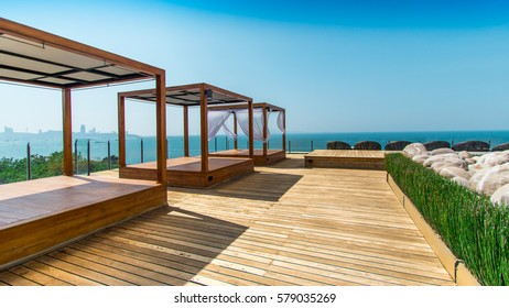 PATTAYA, THAILAND – NOVEMBER 12, 2016: Photo of Cape Dara Resort with sea view. Clear blue sky in awesome sunny day. The wonderful place for holidays. Let's take vacations!