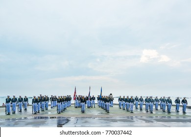 Pattaya, Thailand - November 15, 2017: Thai navy demonstating Fancy Drill on the 50th anniversary ASEAN International Fleet Review 2017 at the beach of Pattaya, Thailand.