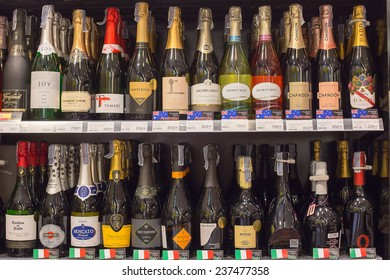 PATTAYA, THAILAND - NOVEMBER 16, 2014: Shelves with wine in Central Festival Pattaya Beach mall. The mall opened in 2009 and was the first shopping mall of Central Pattaya.