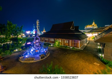 Pattaya, Thailand - November 2019 : View of Legend Siam located in Pattaya with twilight sky, Pattaya Thailand. Legend Siam is new landmrak of Pattaya.