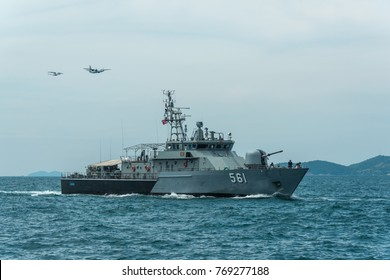 Pattaya, Thailand - November 9, 2017, Navy warships running on sea while warplanes flying above warships on the 50th anniversary ASEAN international fleet review 2017 drill in Pattaya, Thailand