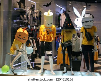 Pattaya, Thailand - October 16th, 2018: Storefront window display for Halloween season from the Playboy brand. Licensed products from Playboy Enterprises, Inc. are retailed across the globe.