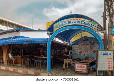 PATTAYA, THAILAND - OCTOBER 25, 2016: Sailor Bar It's in Soi 8 and this bar is popular for its cheap drinks and food.  Soi 8 is full of bars,restaurants and hotels.