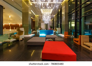 PATTAYA, THAILAND - SEP 20: Lobby of The Zign Hotel on Sep 20, 2014 in Pattaya. It is luxury hotel in Naklua, Pattay, the interior design is back into the 1950s and 1960s.