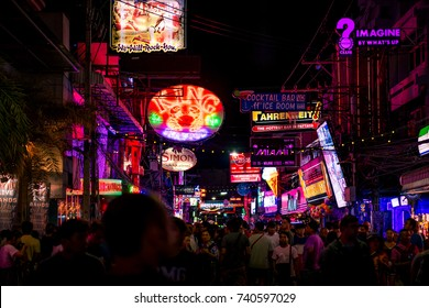 PATTAYA, THAILAND - September 2, 2017 : Colorful night light with music enterainment and drink bar in walking street Pattaya on September 2, 2017 Pattaya Thailand.