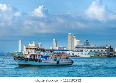 PATTAYA, THAILAND - September 2 : Ferry boat go to Bali Hai pier Pattaya Bay. on September 2, 2017