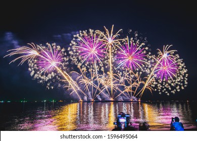 Pattaya Thailand Tuesday, December 3, 2019  The annual international fireworks exhibition features fireworks displays and people come to watch the event and enjoy the event.