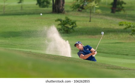 PATTAYA, THAILAND-FEBRUARY 16: Angela Stanford of USA ships the ball out of sand trap during Round 1 of Honda LPGA 2012 on February 16, 2012 at Siam Country Club Old Course in Pattaya, Thailand