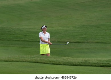 PATTAYA, THAILAND-FEBRUARY 20: Brittany Lang of USA in action during Round 3 of Honda LPGA Thailand 2015 on February 20, 2015 at Siam Country Club Old Course in Pattaya, Thailand