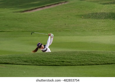 PATTAYA, THAILAND-FEBRUARY 20: Budsabakorn Sukapan of Thailand in action during Round 3 of Honda LPGA Thailand 2015 on February 20, 2015 at Siam Country Club Old Course in Pattaya, Thailand