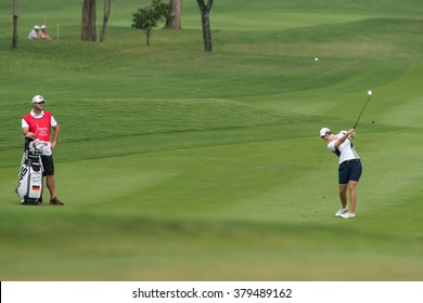 PATTAYA, THAILAND-FEBRUARY 20: Caroline Masson of Germany in action during Round 3 of Honda LPGA Thailand 2015 on February 20, 2015 at Siam Country Club Old Course in Pattaya, Thailand