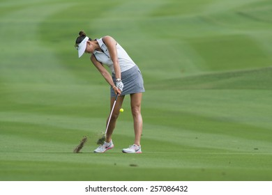 PATTAYA, THAILAND-FEBRUARY 20: Michelle Wie of USA prepares to putt during Round 3 of Honda LPGA Thailand 2015 on February 20, 2015 at Siam Country Club Old Course in Pattaya, Thailand